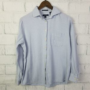 Land's End Blue Portuguese Flannel Button Up Top